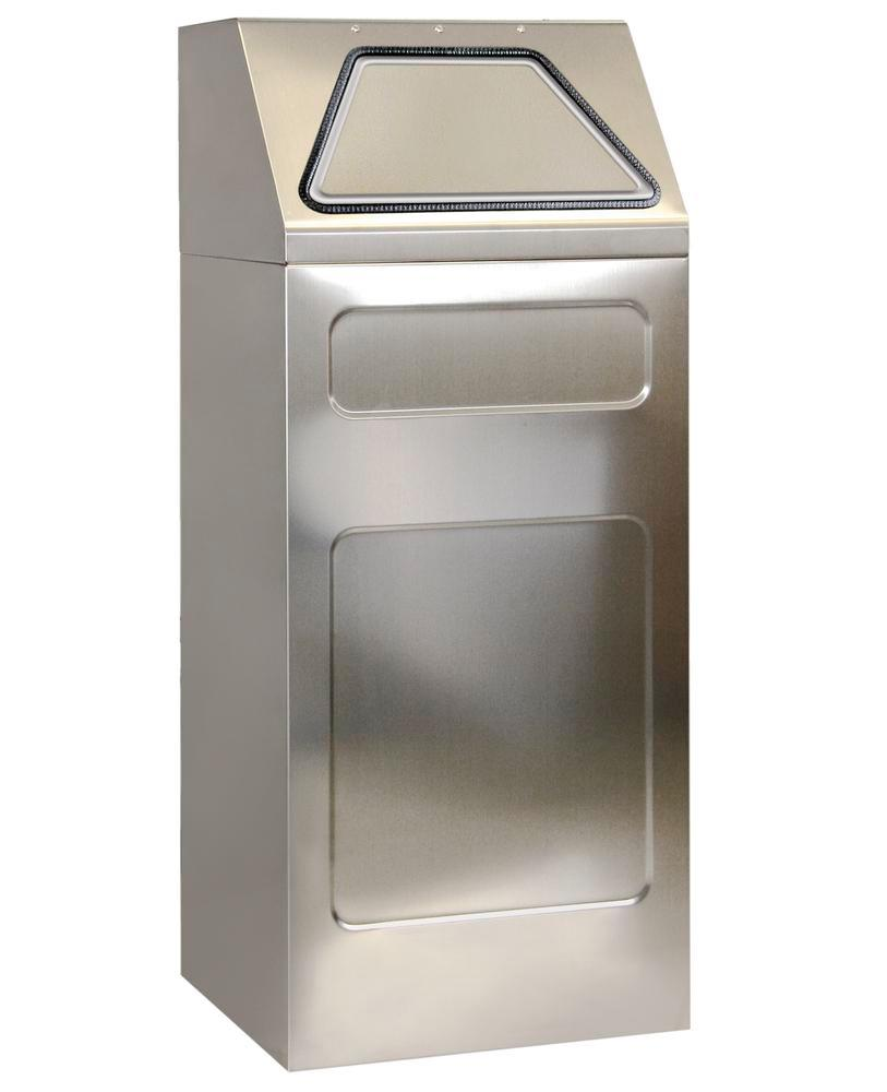 Self-extinguishing recycling bin, stainless steel, 65 litre capacity