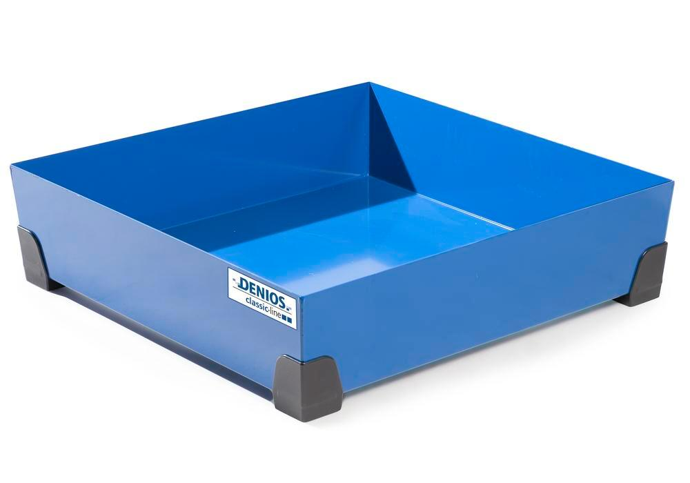 Spill tray for small containers classic-line in steel, painted, no grid, 102 litre, 774x774x200