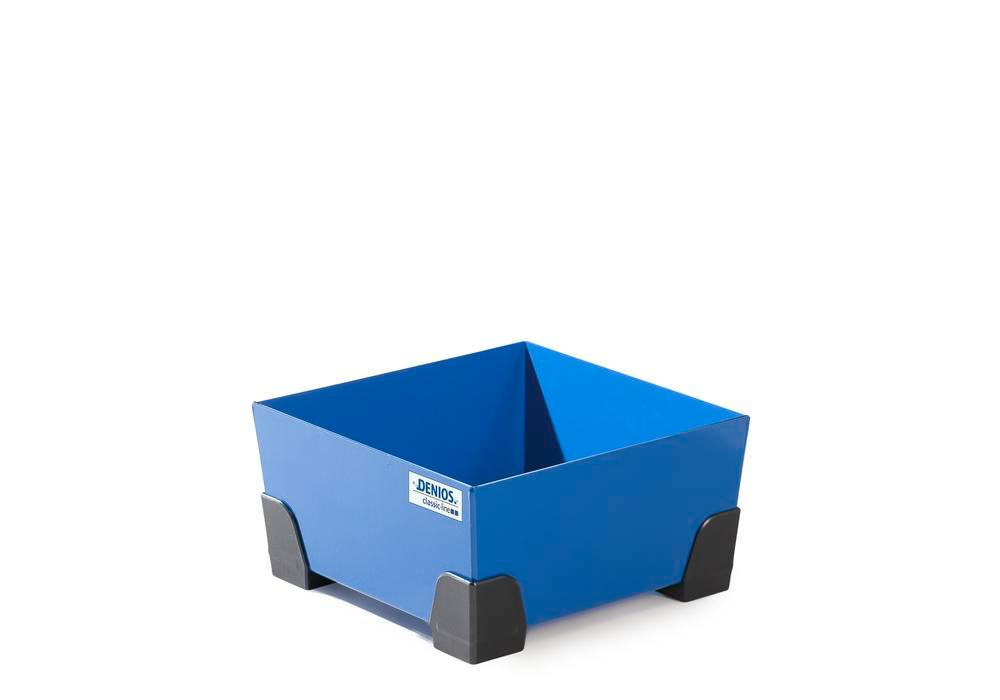 Spill tray for small containers classic-line in steel, painted, no grid, 20 litre, 392x392x200