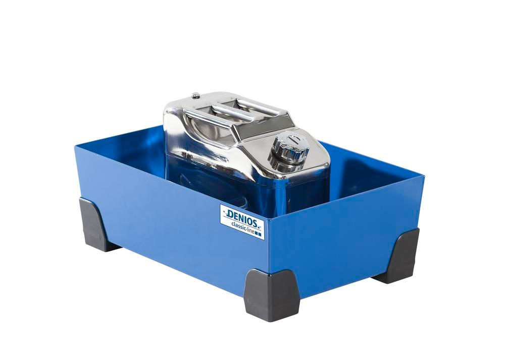 Spill tray for small containers classic-line in steel, painted, no grid, 30 litre, 584x392x200 - 3