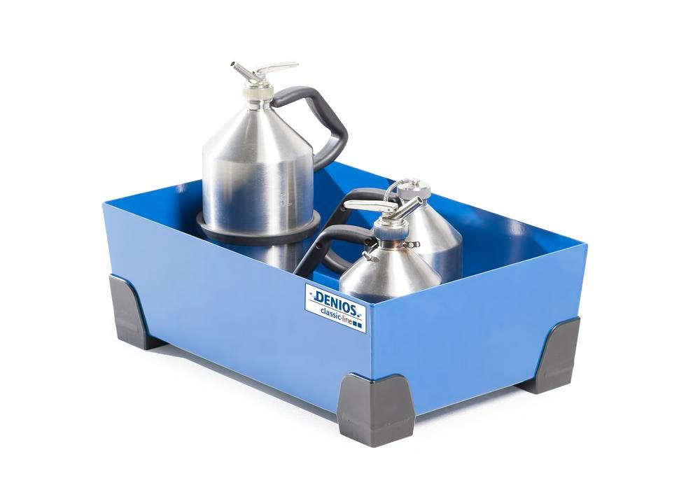 Spill tray for small containers classic-line in steel, painted, no grid, 30 litre, 584x392x200 - 4