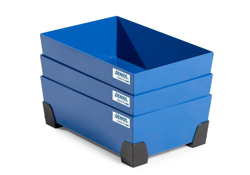 Spill tray for small containers classic-line in steel, painted, no grid, 30 litre, 584x392x200