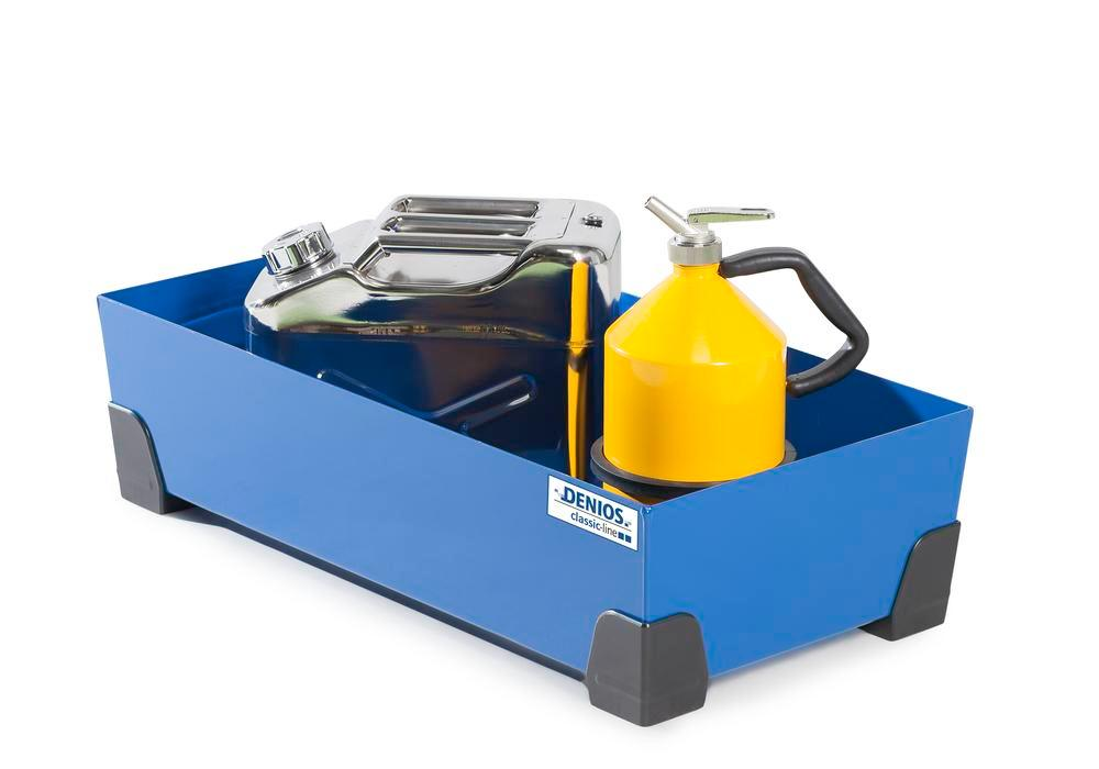Spill tray for small containers classic-line in steel, painted, no grid, 40 litre, 774x392x200
