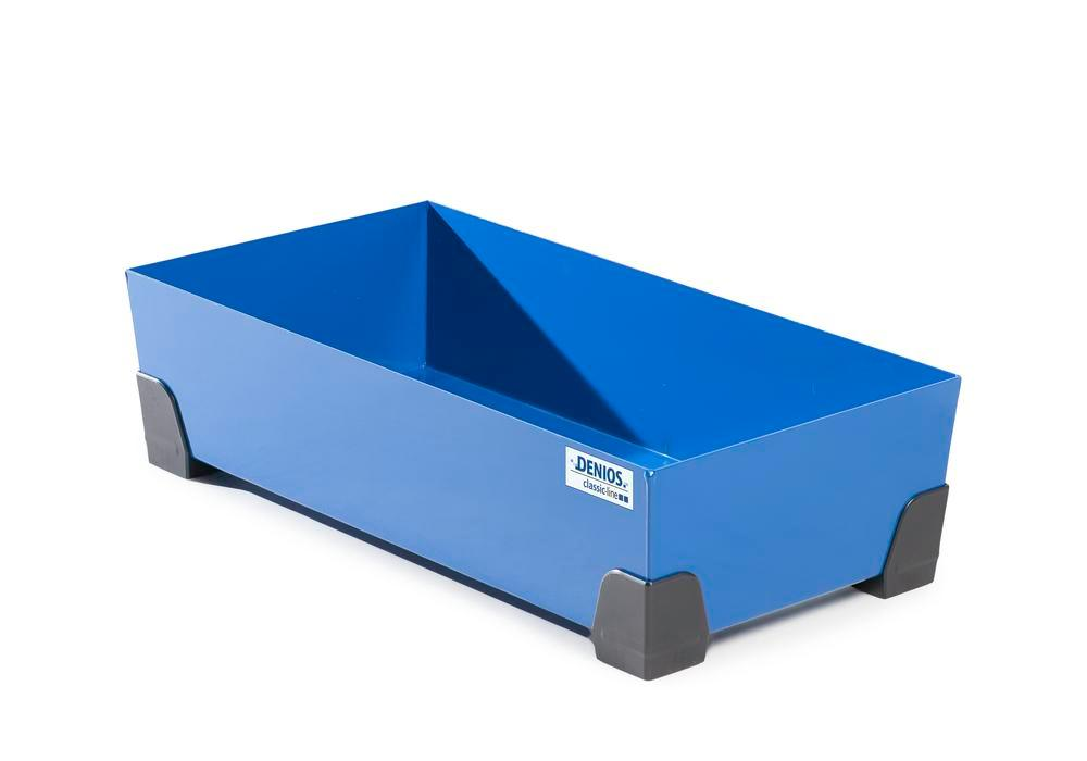 Spill tray for small containers classic-line in steel, painted, no grid, 50 litre, 774x392x200