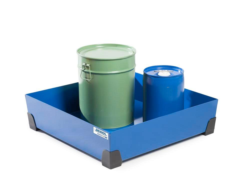Spill tray for small containers classic-line in steel, painted, no grid, 90 litre, 774x774x200