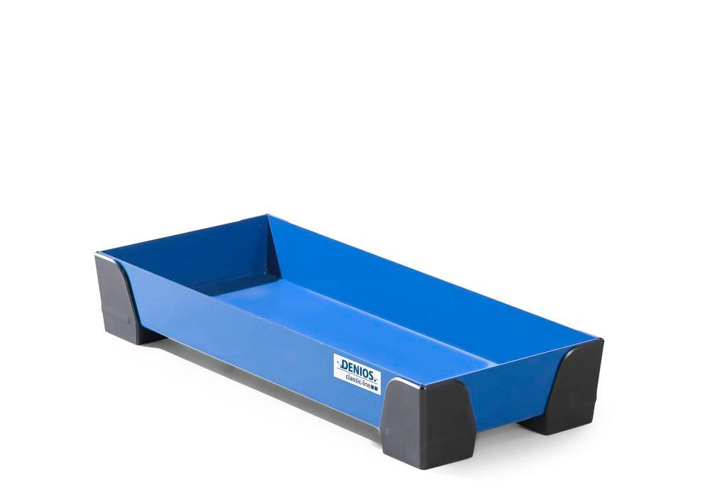 Spill tray for small containers classic-line in steel, painted, no perf sheet, 11 litres, 250x600x95