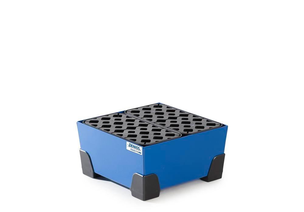 Spill tray for small containers classic-line in steel, painted, with PE grid, 20 litre, 392x392x200