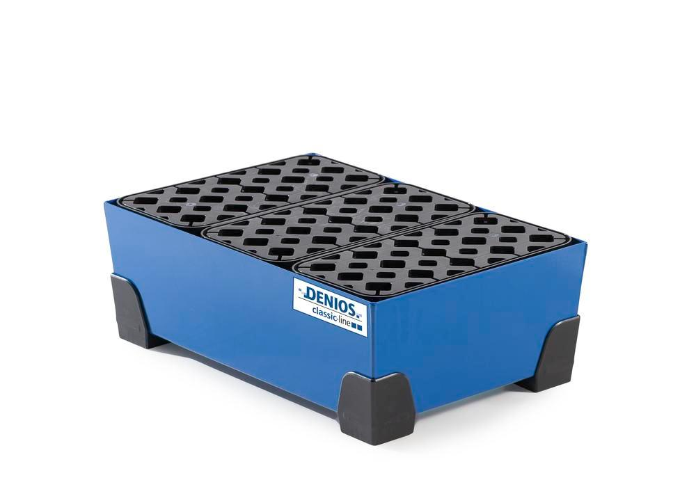 Spill tray for small containers classic-line in steel, painted, with PE grid, 30 litre, 584x392x200