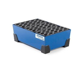 Spill tray for small containers classic-line in steel, painted, with PE grid, 30 litre, 584x392x200-w280px