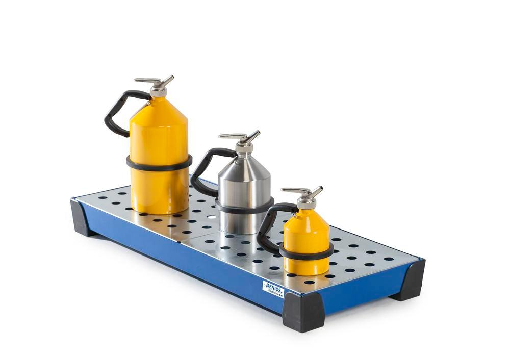 Spill tray for small containers classic-line, steel, paint, w galv. perf. sh, 20 litre, 987x400x95