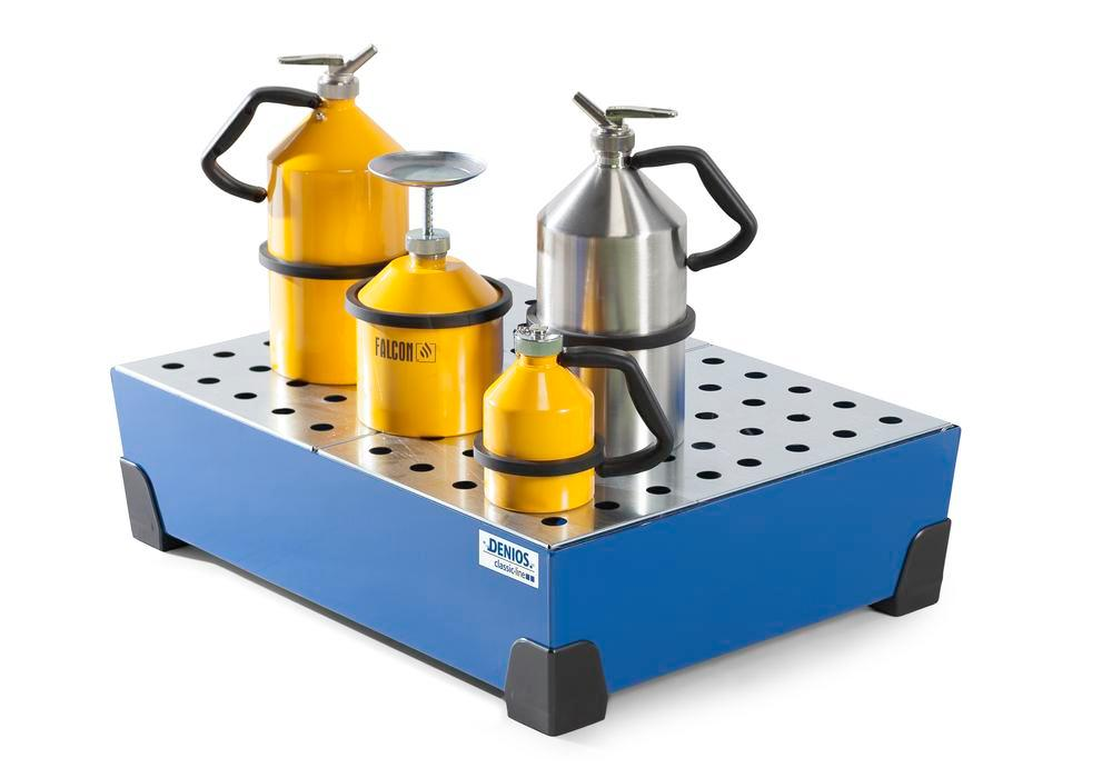Spill tray for small containers classic-line, steel, paint, w galv. perf. sh, 65 litre, 774x584x200 - 1