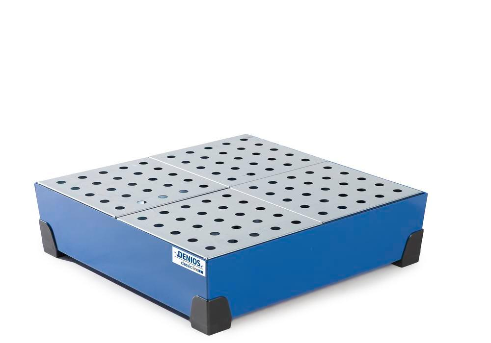 Spill tray for small containers classic-line, steel, paint, w galv. perf. sh, 90 litre, 774x774x200
