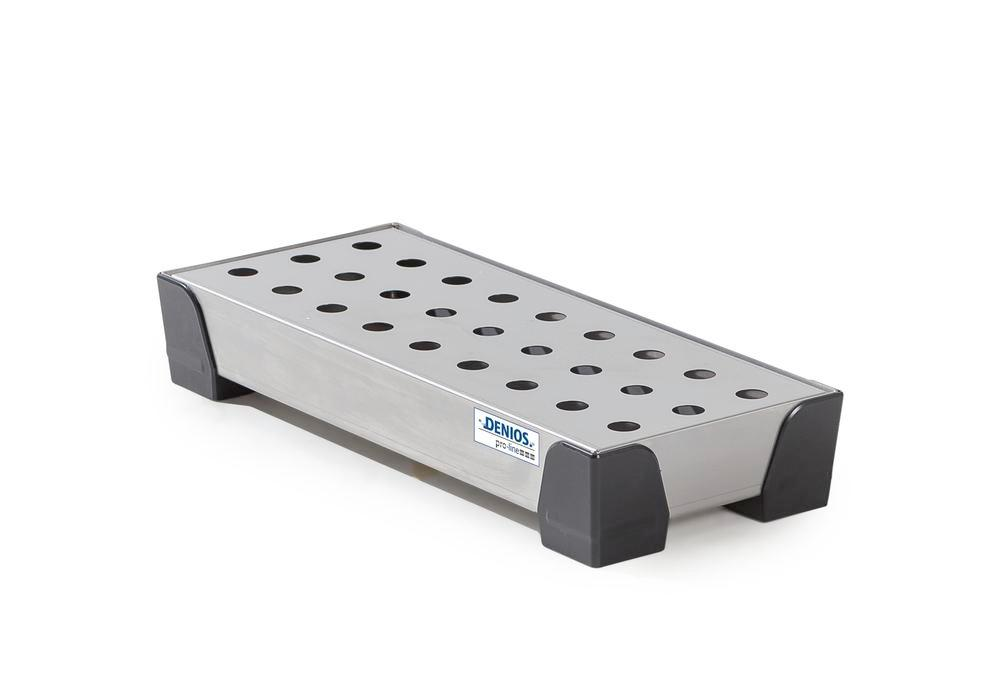Spill tray for small containers pro-line in st steel, with st steel perf sheet, 7 litres, 250x600x95 - 1