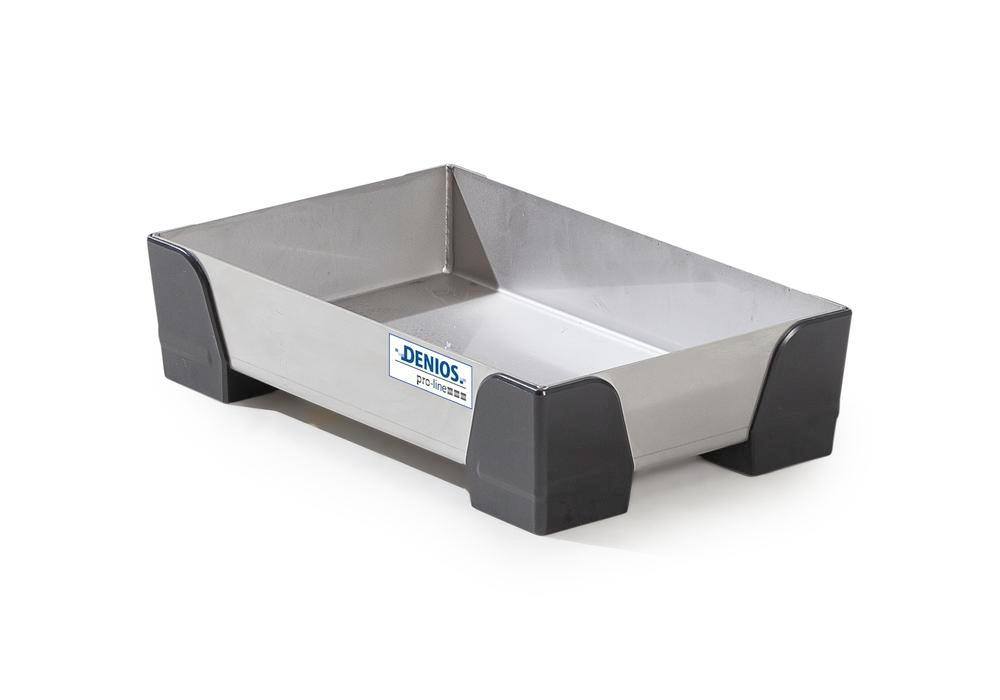 Spill tray for small containers pro-line in stainless steel, no perf sheet, 5 litres, 250x400x95