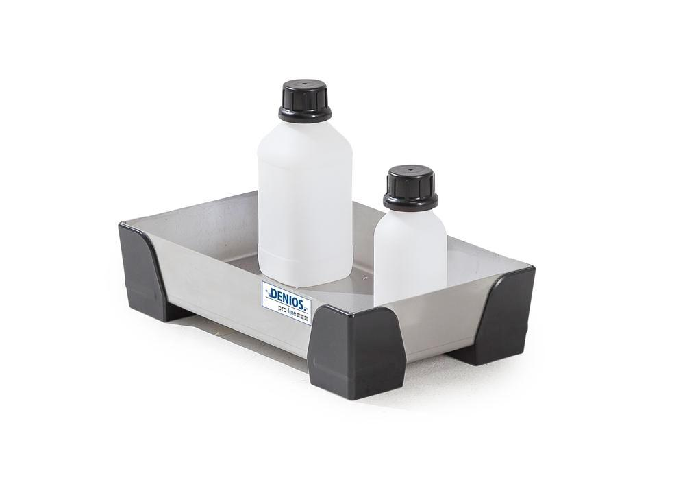 Spill tray for small containers pro-line in stainless steel, no perf sheet, 7 litres, 250x400x95