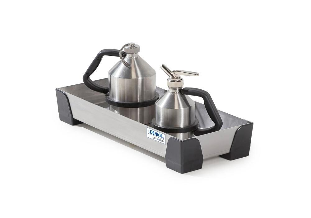 Spill tray for small containers pro-line in stainless steel, no perf sheet, 7 litres, 250x600x95 - 1