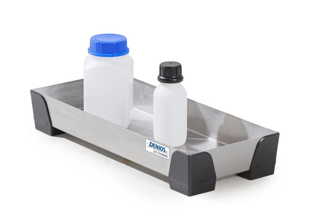 Spill tray for small containers pro-line in stainless steel, no perf sheet, 7 litres, 250x600x95