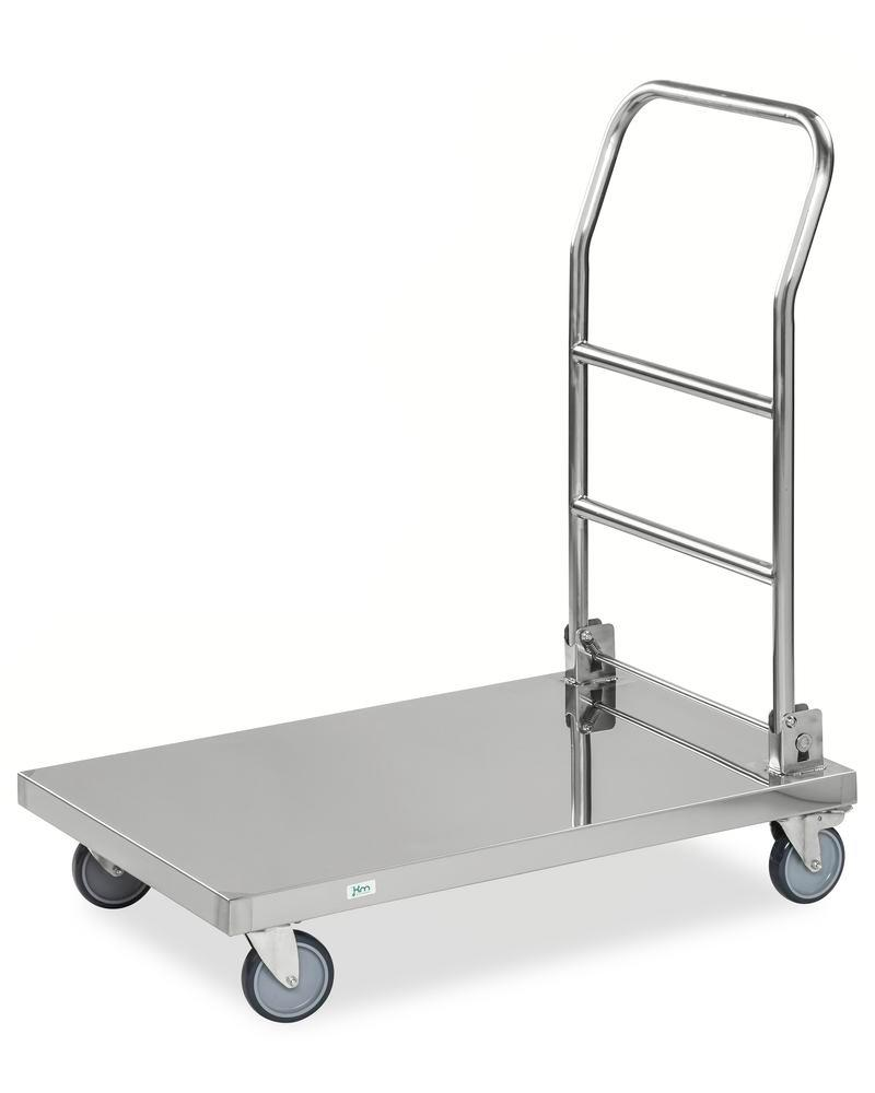 St. steel platform trolley KM, with folding handle, 100Kg, 880x500 mm, 4 swivel castors, brake