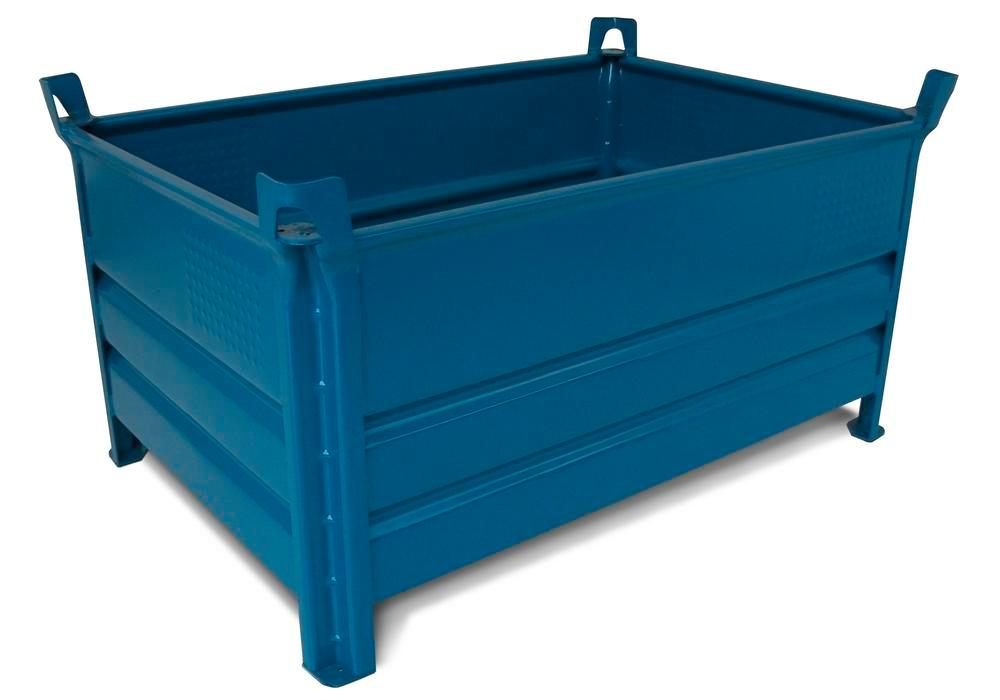 Stacking container SP 1012 Profi in steel, 600 litre volume, blue