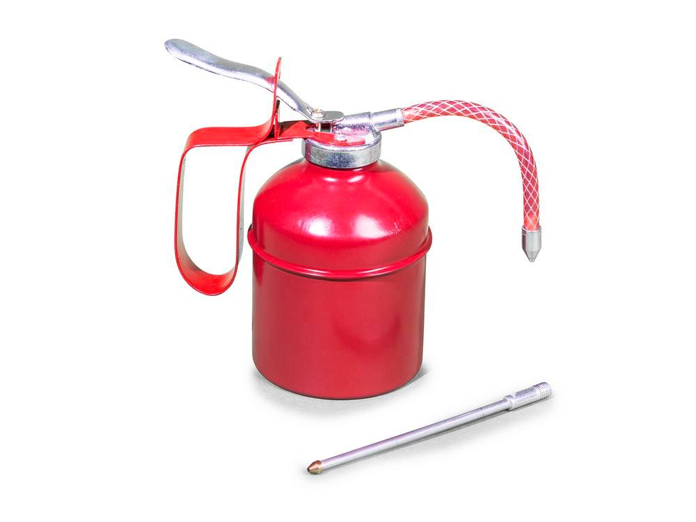 Steel oil can with brass pump ext, 0.3 litre volume, 4 items - 3