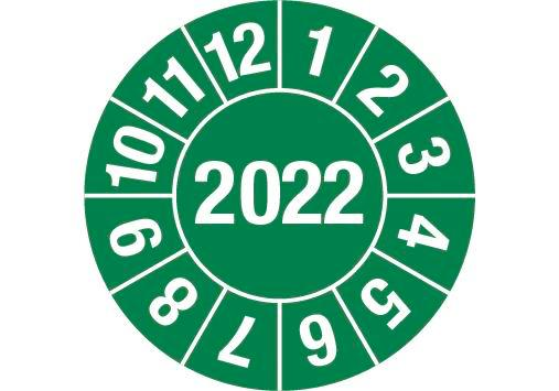 """Test sticker """"2022"""", green, film 30mm, Roll with1000 stickers"""