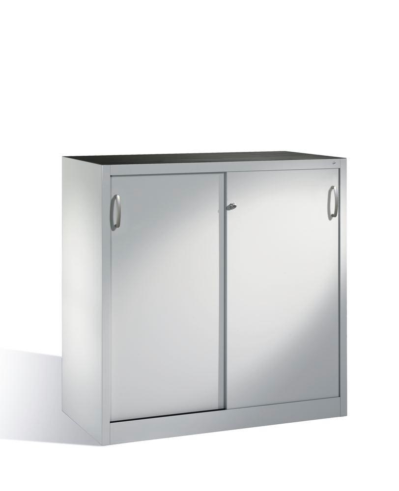 Tool storage cabinet Cabo with sliding doors, 2 shelves, W 1200, D 500, H 1200 mm, grey