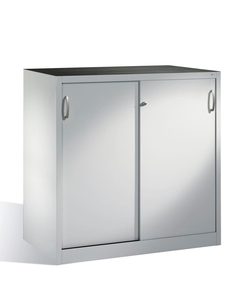 Tool storage cabinet Cabo with sliding doors, 2 shelves, W 1200, D 600, H 1200 mm, grey