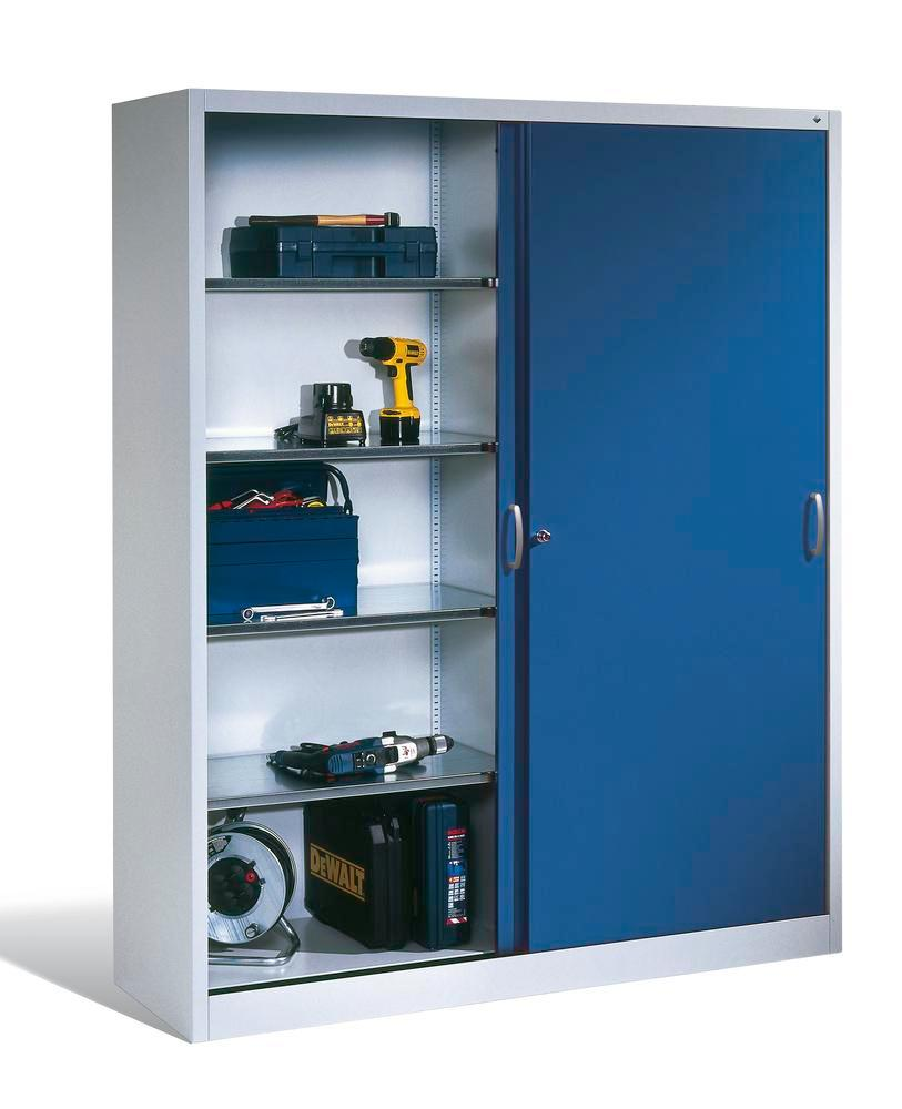 Tool storage cabinet Cabo with sliding doors, 4 shelves, W 1200, D 400, H 1950 mm, grey/blue