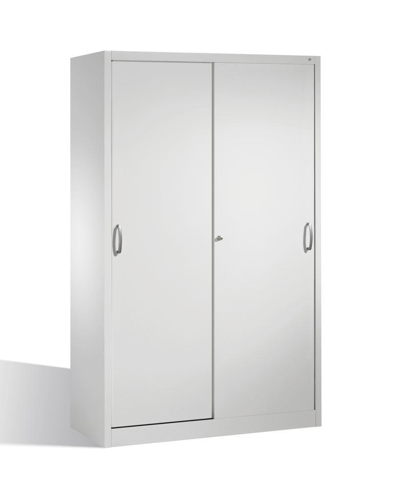 Tool storage cabinet Cabo with sliding doors, 4 shelves, W 1200, D 600, H 1950 mm, grey