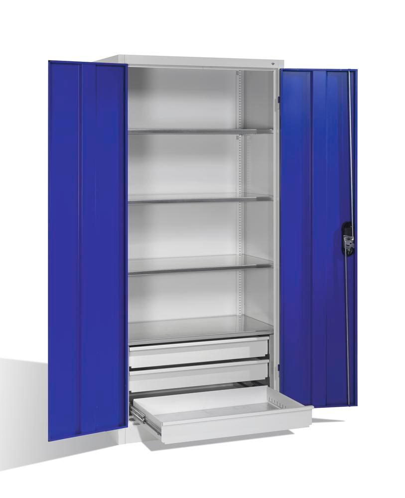 Tooling and equipment cabinet Cabo, wing doors and drawers, W 930, D 500, H 1950 mm, grey/blue