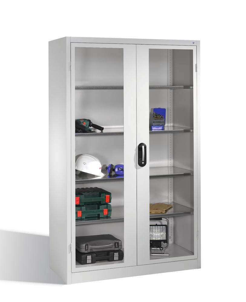 Tooling and equipment cabinet Cabo, wing drs, 4 shelves, view window, W 1200, D 500, H 1950 mm, grey