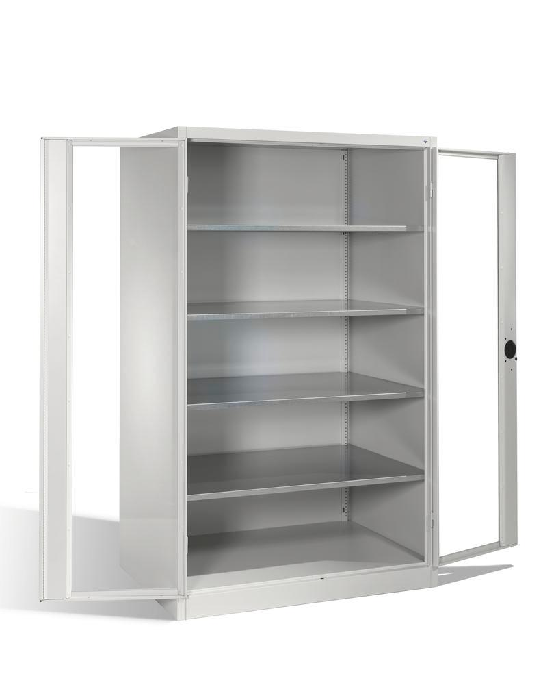 Tooling and equipment cabinet Cabo, wing drs, 4 shelves, view window, W 1200, D 800, H 1950 mm, grey