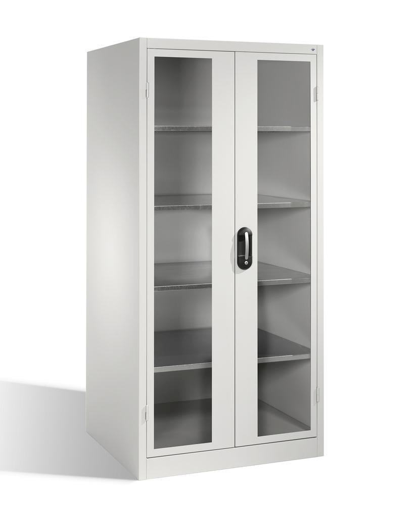 Tooling and equipment cabinet Cabo-XXL, wing doors w view window, W 930, D 800, H 1950 mm, grey - 1