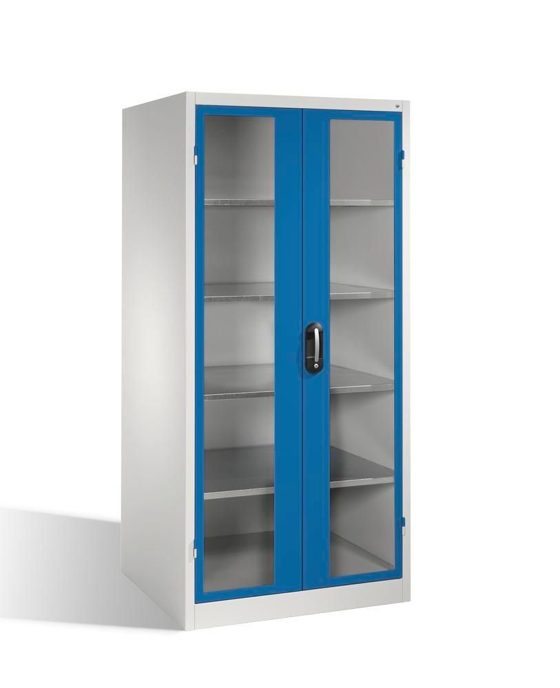 Tooling and equipment cabinet Cabo-XXL, wing doors w view window, W 930, D 800, H 1950 mm, grey/blue