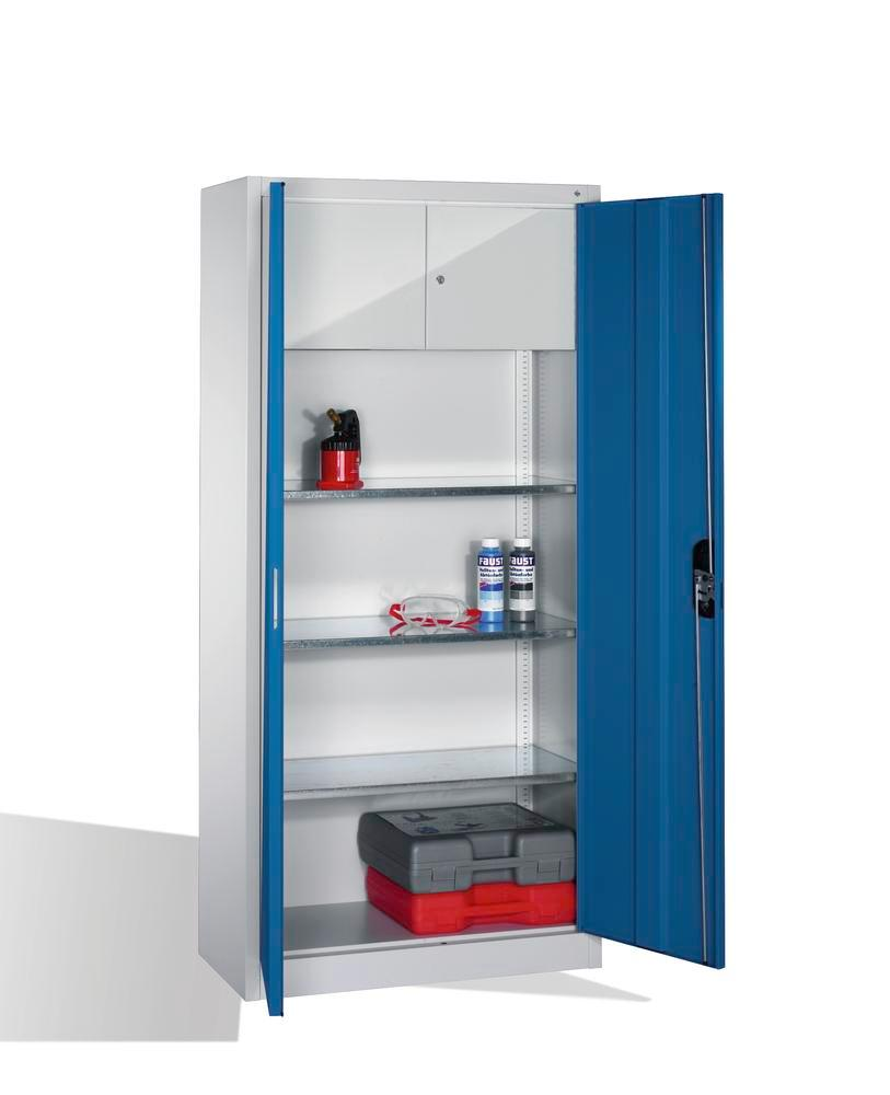 Tooling equipment cabinet Cabo, wing drs, 3 shelves, val comp, W 930, D 400, H 1950 mm, grey/blue
