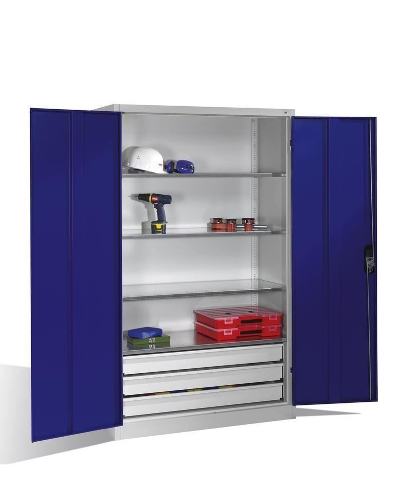 Tooling equipment cabinet Cabo, wing drs, 4 shelves, 3 drawers, W 1200, D 400, H 1950 mm, grey/blue