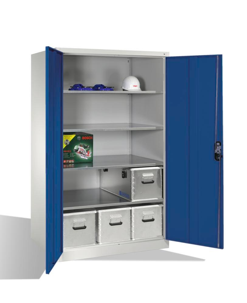 Tooling equipment cabinet Cabo-XXL, wing doors, 4 shelves, W 1200, D 800, H 1950 mm, grey/blue