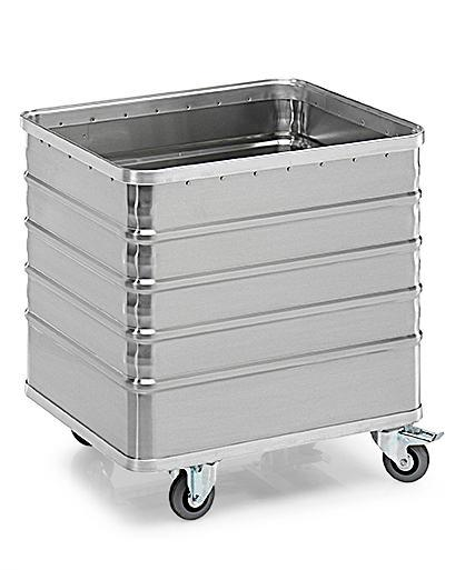 Transport container TW 235-B, without lid, 4 closed sides, 2 swivel and 2 fixed wheels, 225 litres