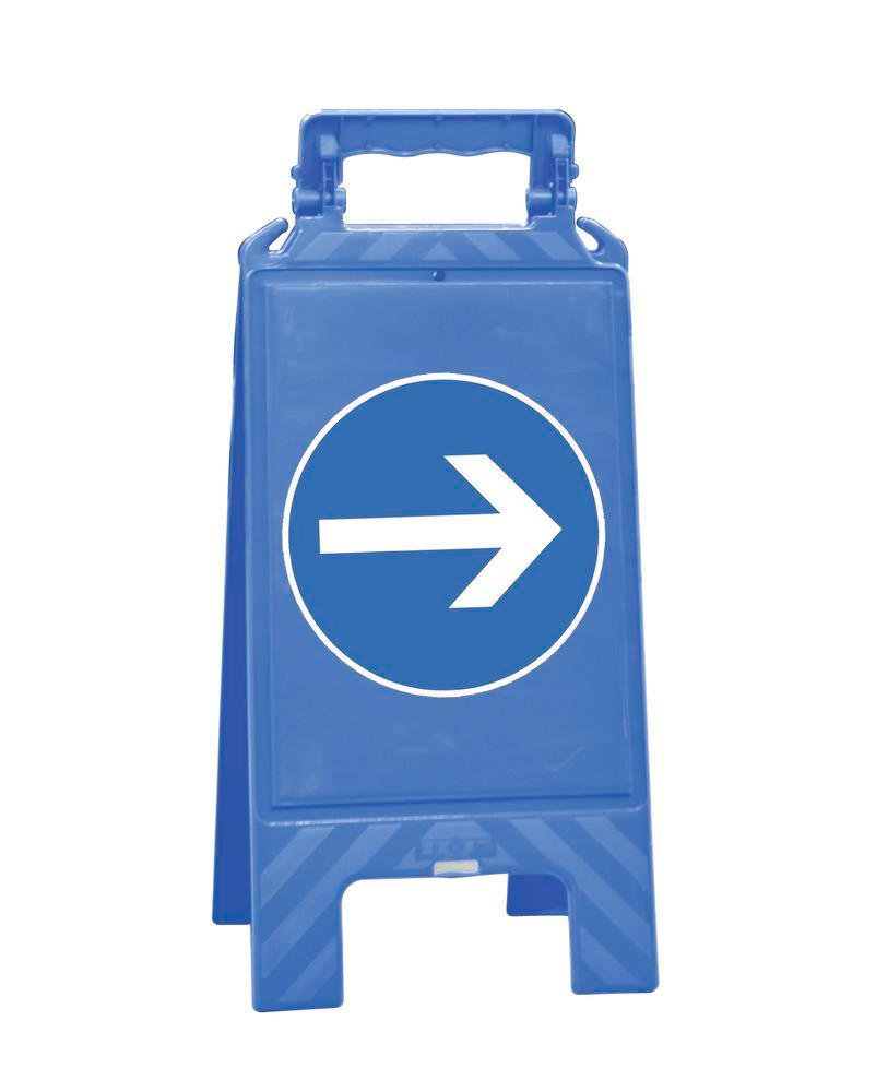 Warning sign blue, plastic, for marking mandatory areas, direction arrow