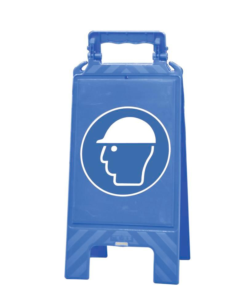 Warning sign blue, plastic, for marking mandatory areas, helmet must be worn