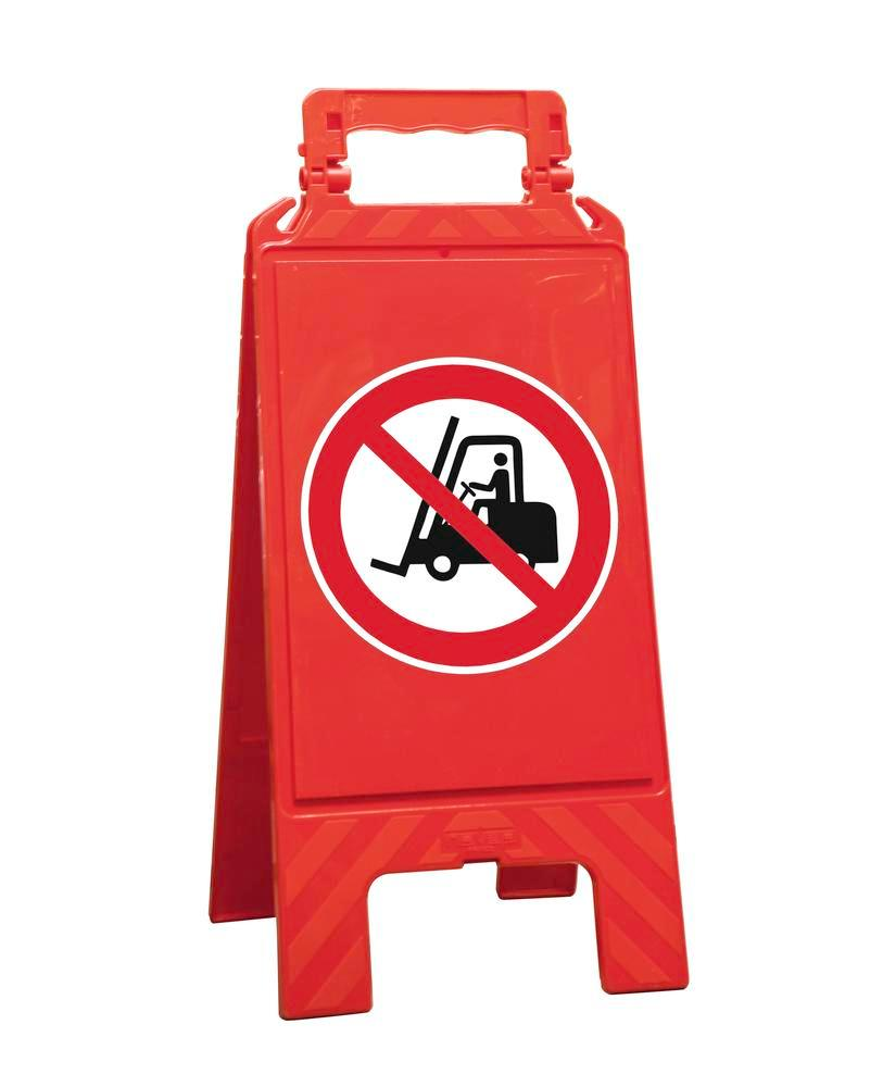 Warning sign red, plastic, for marking prohibition areas, forklift