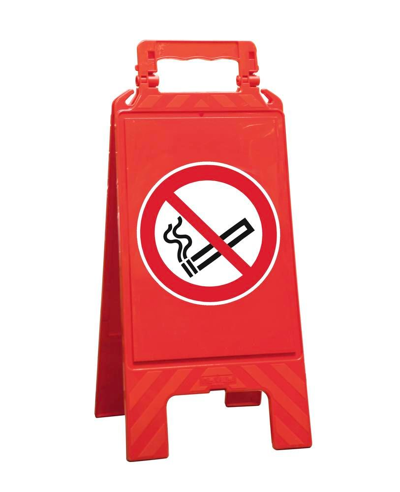 Warning sign red, plastic, for marking prohibition areas, no smoking