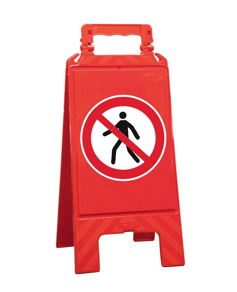 Warning sign red, plastic, for marking prohibition areas, pedestrians