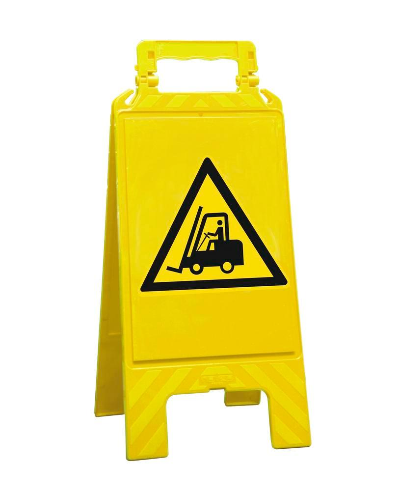 Warning sign yellow, plastic, for marking hazard areas, forklift - 1