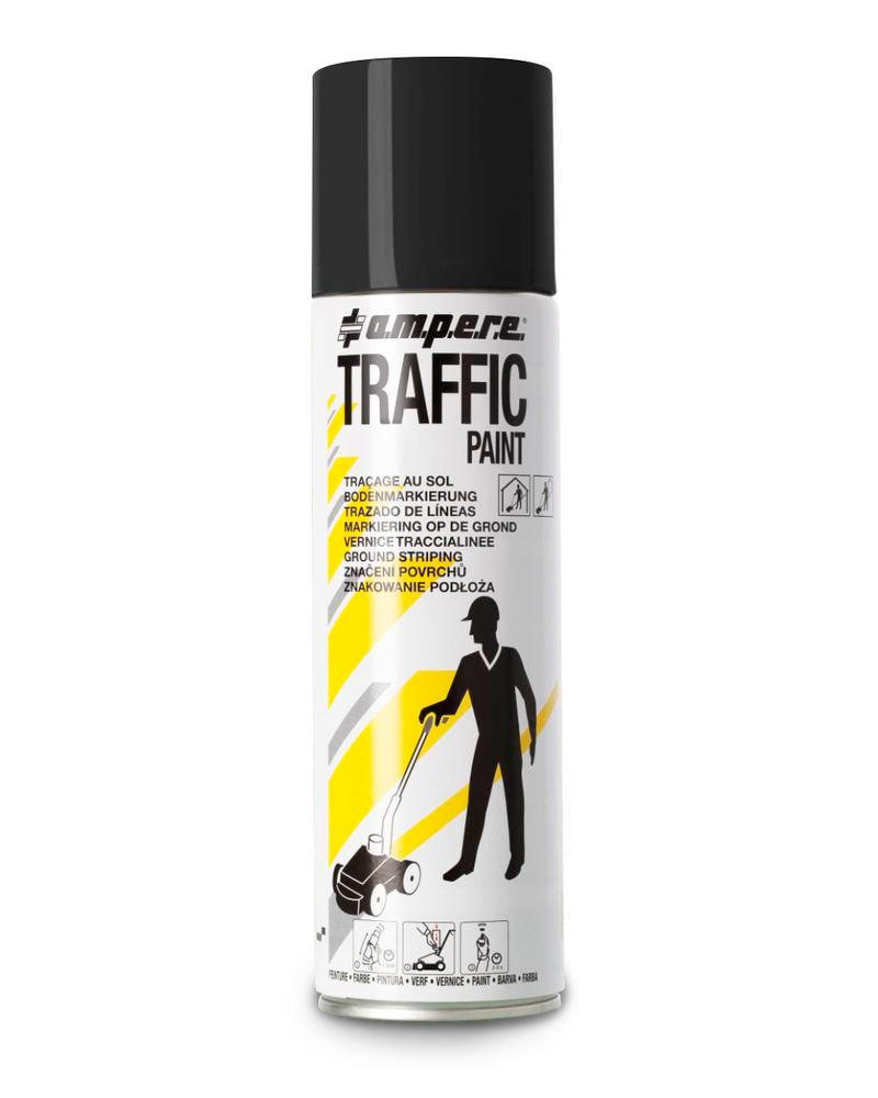Floor marking paint TRAFFIC, black, 1 box with 12 x 500ml cans = 1 Pack