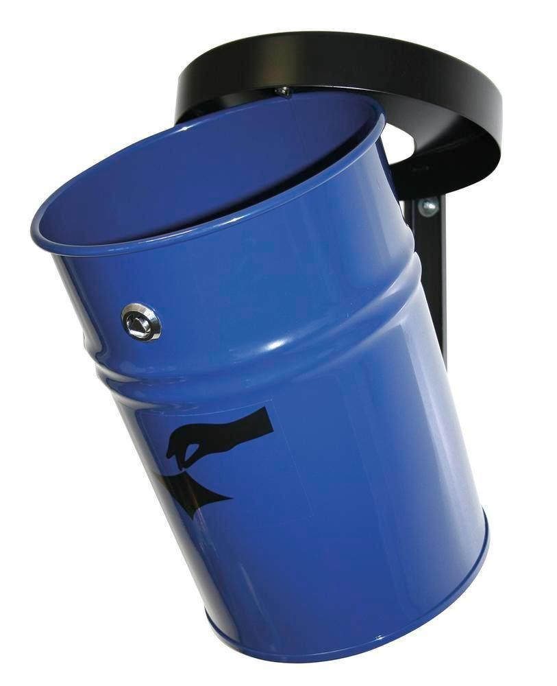 Self-extinguishing waste bin, 24 litres, steel, blue