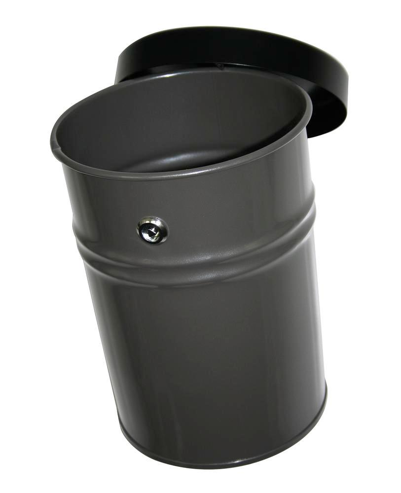 Self-extinguishing waste bin, 24 litres, steel, graphite