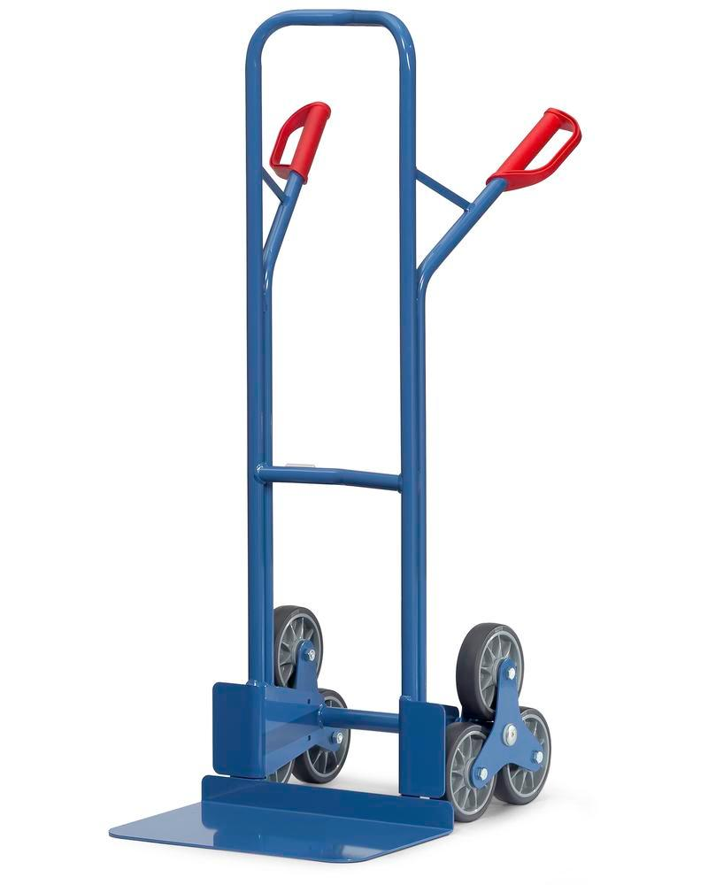 Steel stair climbing sack truck, plastic coated, 3 point wheels, TPE tyres,base 480x300mm, 200 kg