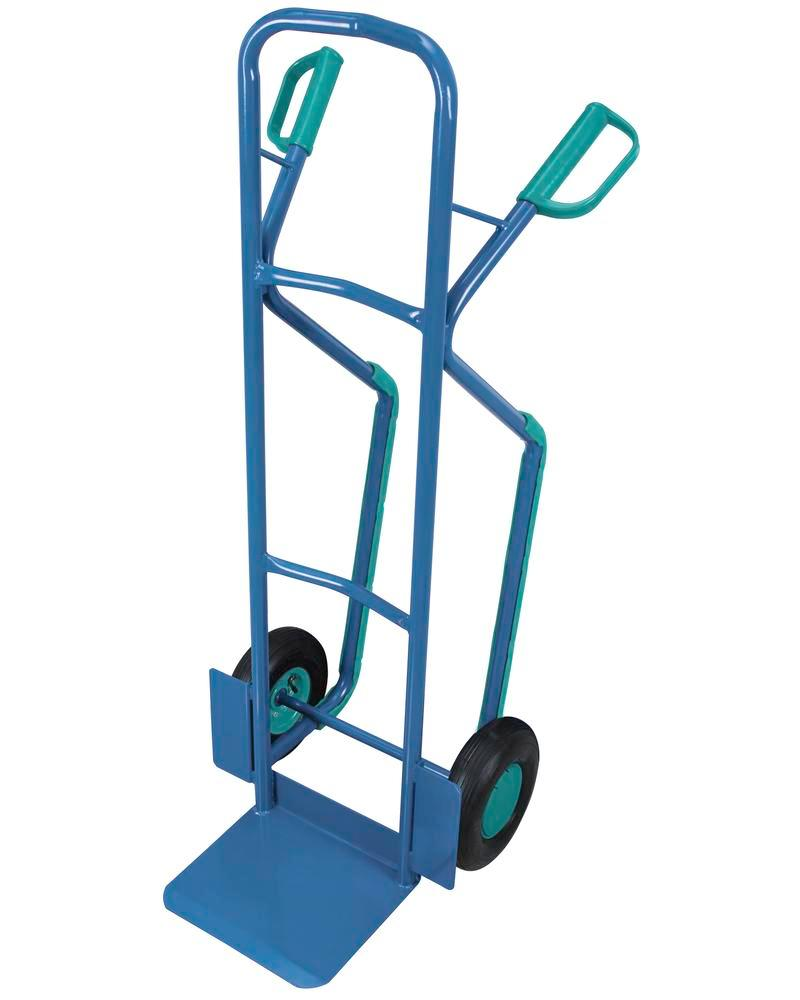 Transport trolley DENIOS classic-line in steel, pneumatic tyres, rails, base 320x250mm, 250kg - 1