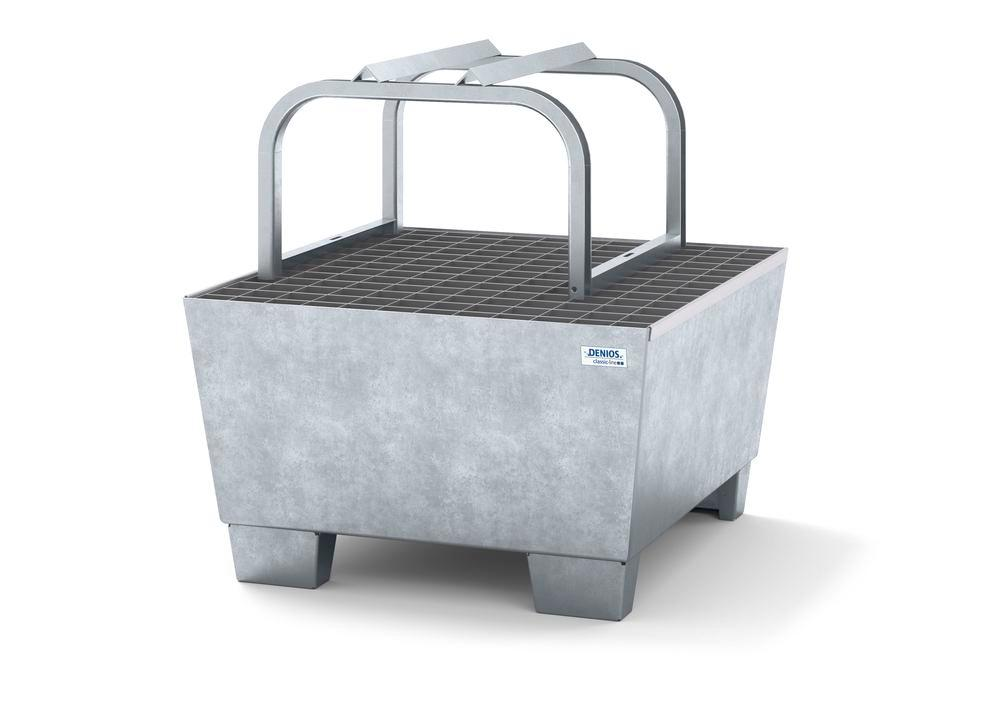 Disp. station classic-line in steel for 1 x 60 l drum, galv, with galvanised drum support, H = 860 - 1